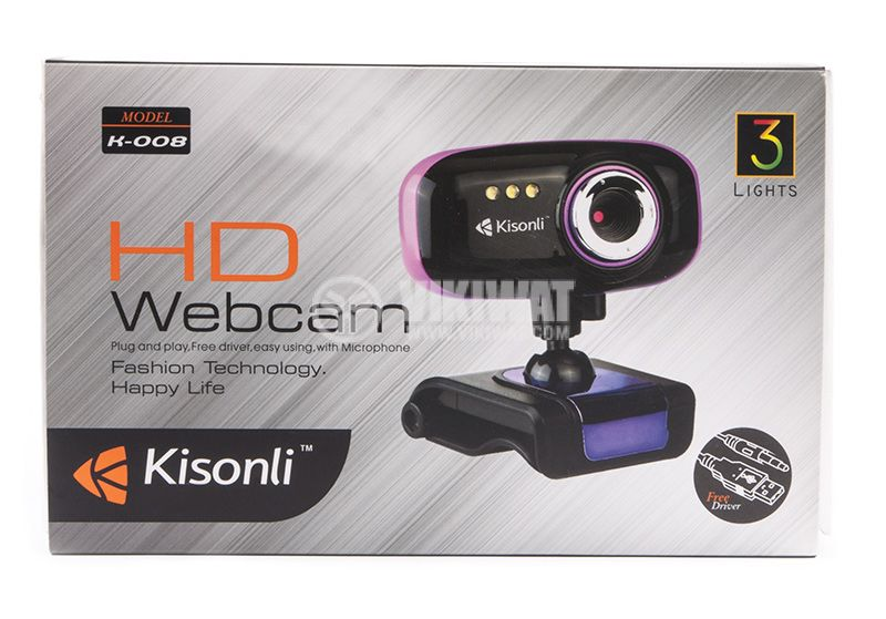 Web camera, Kisonli K-008, USB, LED light with pinch - 5