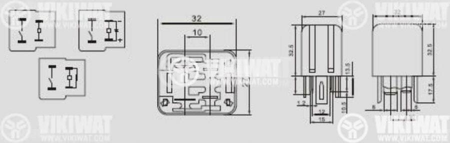 Електромагнитно автомобилно реле 12VDC/30A SPST - NO, AS402 - 2