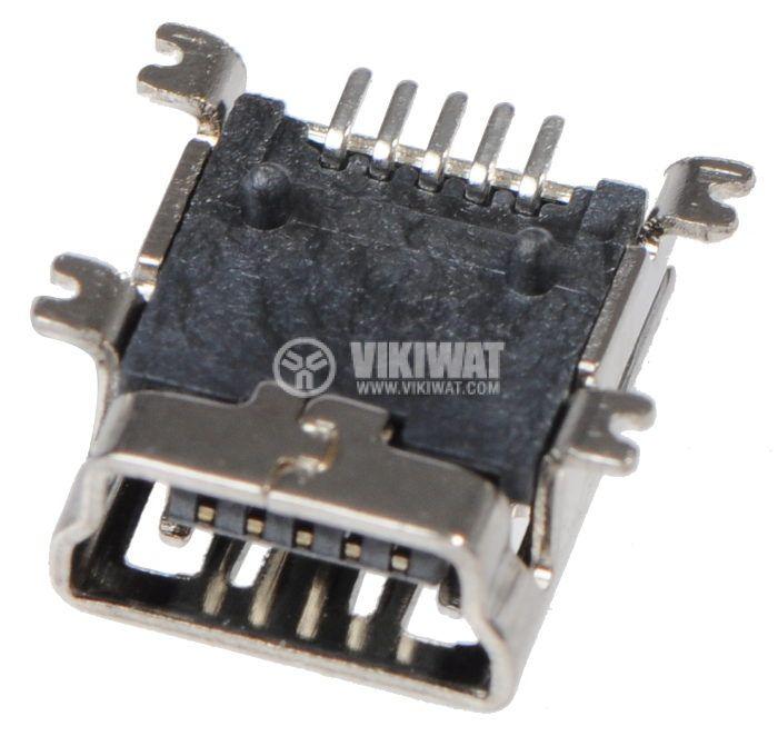 Конектор, USB B mini, женски, USB 2.0, позлатен, SMT - 2