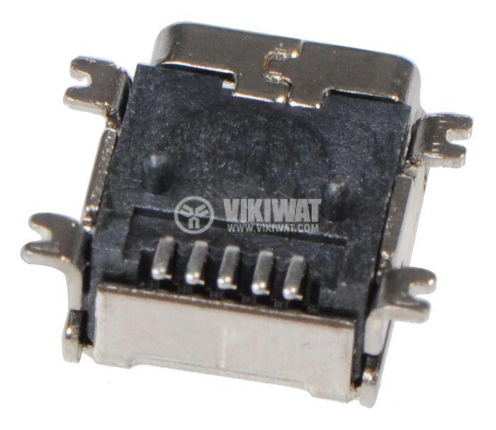 Конектор, USB B mini, женски, USB 2.0, позлатен, SMT - 3