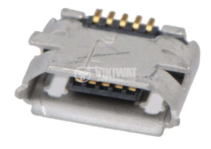 Connector, USB B micro, female, SMT, gold plated - 1