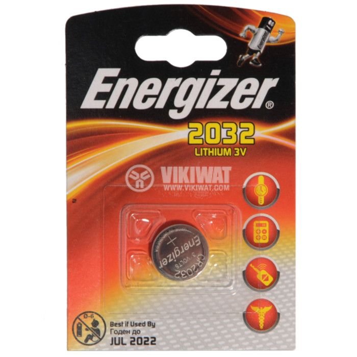 Button Cell Battery CR2032 3VDC, 240mAh, lithium - 1