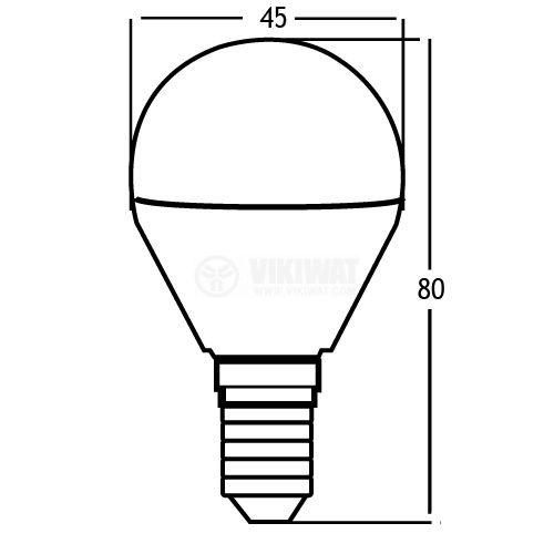 LED лампа 5W, E14, P45, 220VAC, 6500K, студено бяла, BA11-00513 - 2