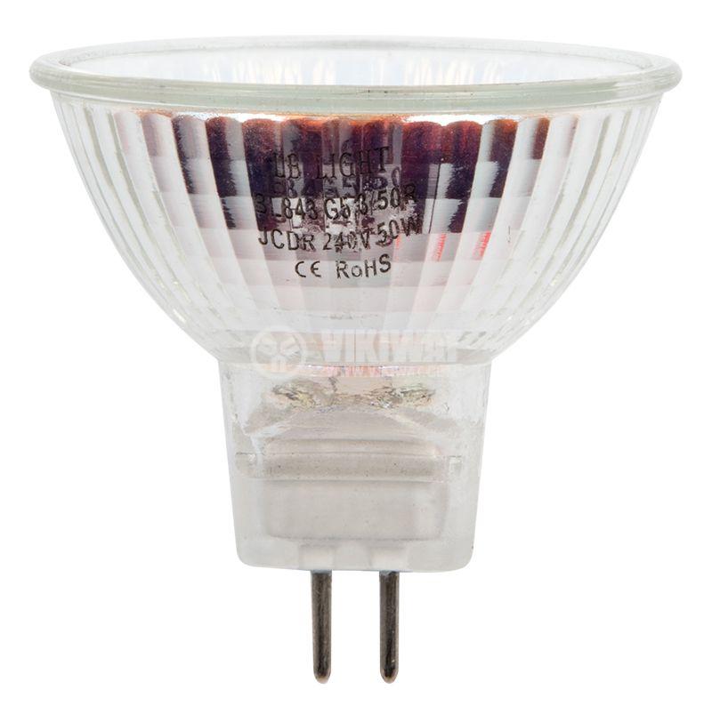 Халогенна лампа 220 VAC, 50 W, G5.3, закрита, зелена - 1