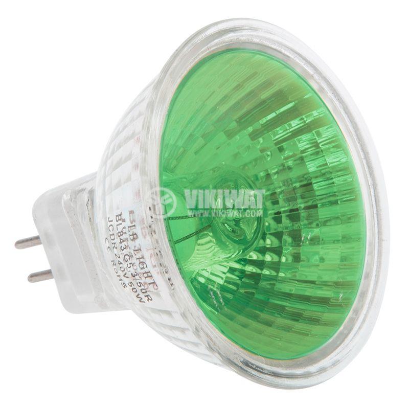 Халогенна лампа 220 VAC, 50 W, G5.3, закрита, зелена - 2