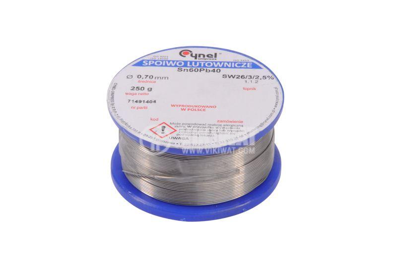Solder wire Ф0.7 mm, 0.250 kg pack - 1