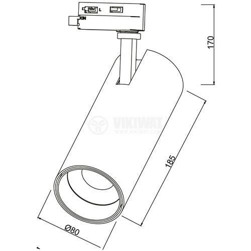 LED релсов прожектор 30W, 3000K, 2350lm, 3000К, топло бял, BD30-01600 - 5