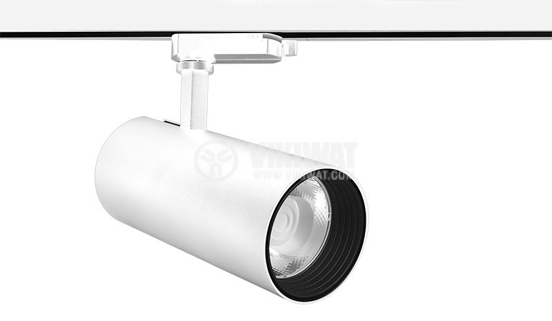 LED релсов прожектор COB SHOPLINE-D, 30W, 2350lm, 220VAC, 3000К, топло бял, BD30-01600, бял корпус - 1