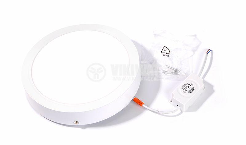 Кръгъл LED плафон за външен монтаж 18W, топла светлина 3000K, ф220мм, IP20, Braytron - 3
