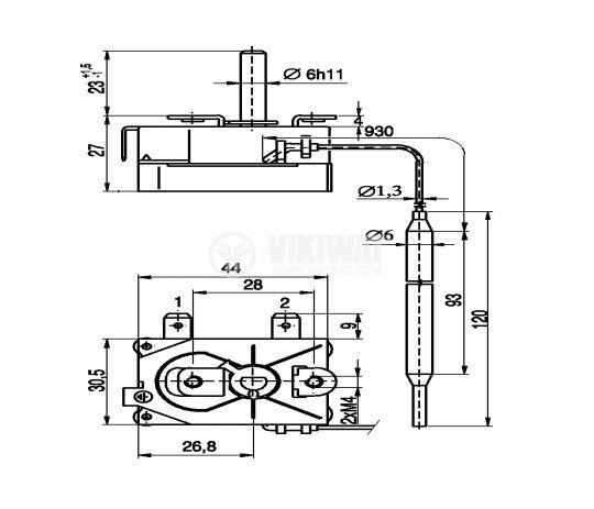Capillary thermostat, RT8803-021, +7 °C +120 °C, NC, 16 A / 250 VAC - 3