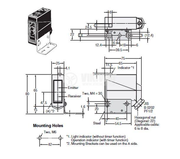 Optoelectronic Switch E3JM-DS70M2-A PNP NC + NO diffuse 220VAC range 0-700mm plastic - 2