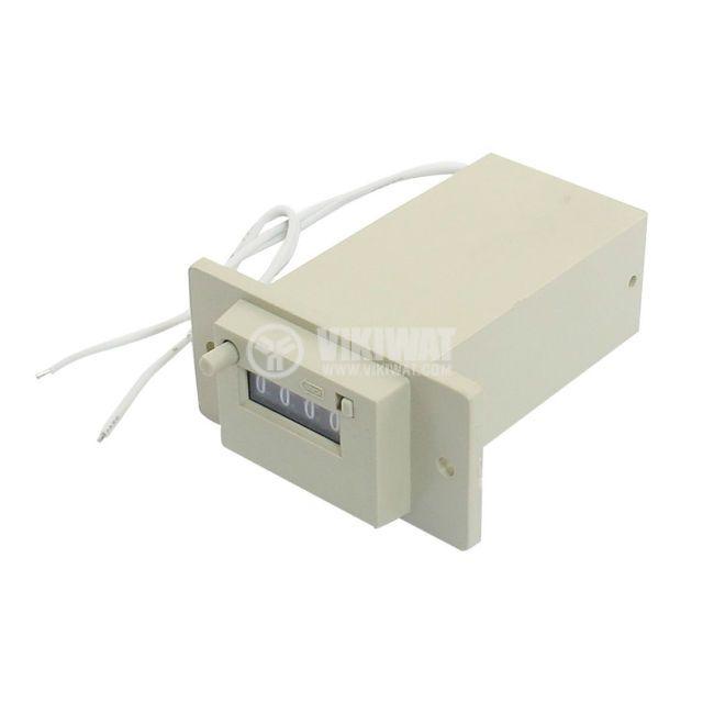Брояч на импулси, електромеханичен, CSK4-YKW, 24 VDC, 4 разряда, 1 - 9999 импулса - 1