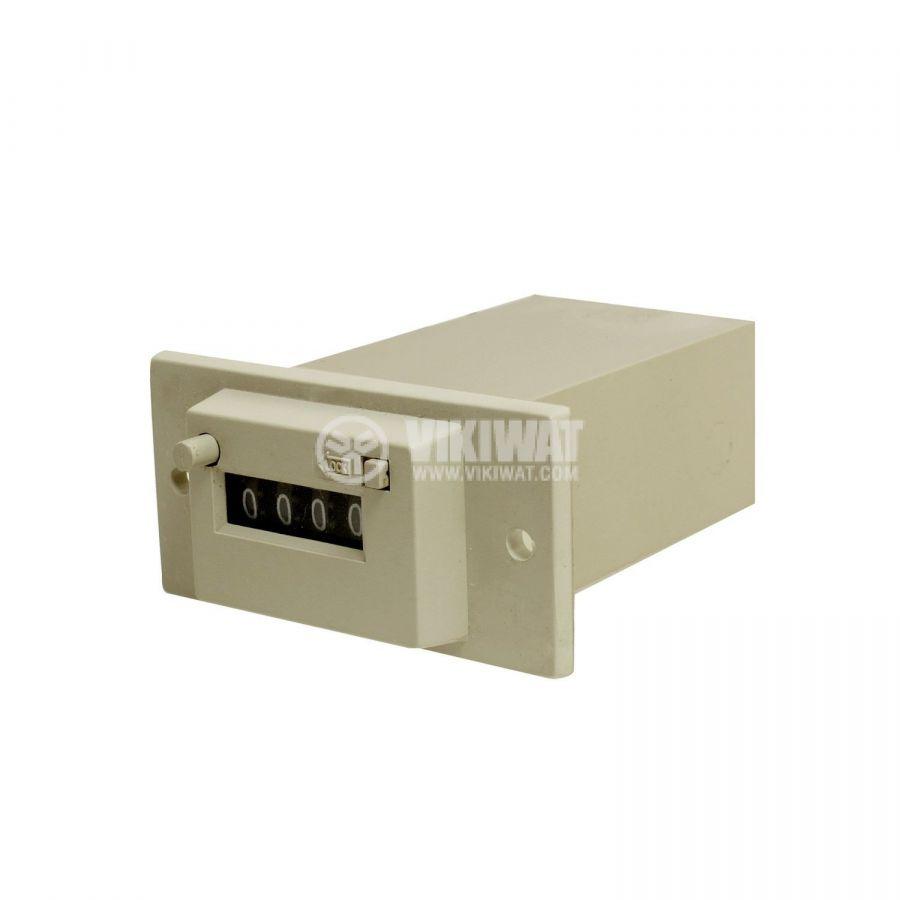 Брояч на импулси, електромеханичен, CSK4-YKW, 12 VAC, 4 разряда, 1 - 9999 импулса - 2
