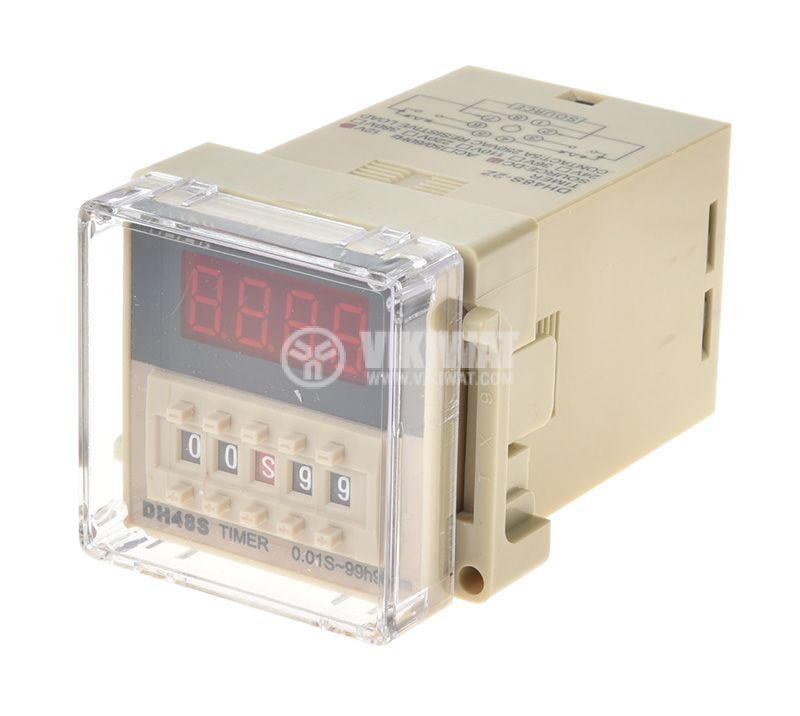 Time Delay Relay, DH48S-2Z, 12 VDC, NO + NC, 250 VAC, 5 A, 0.01 s and 99 h - 1