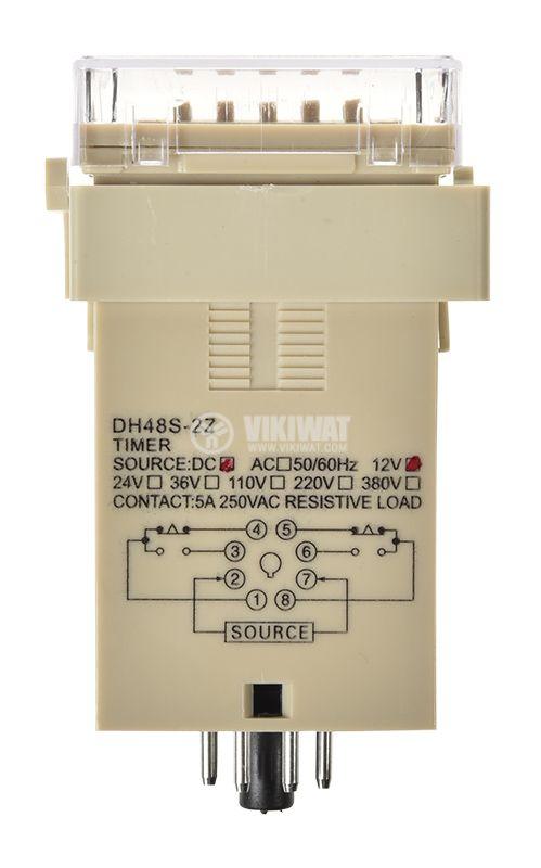 Time Delay Relay, DH48S-2Z, 12 VDC, 2NO + 2NC, 250 VAC, 5 A, 0.01 s and 99 h - 3