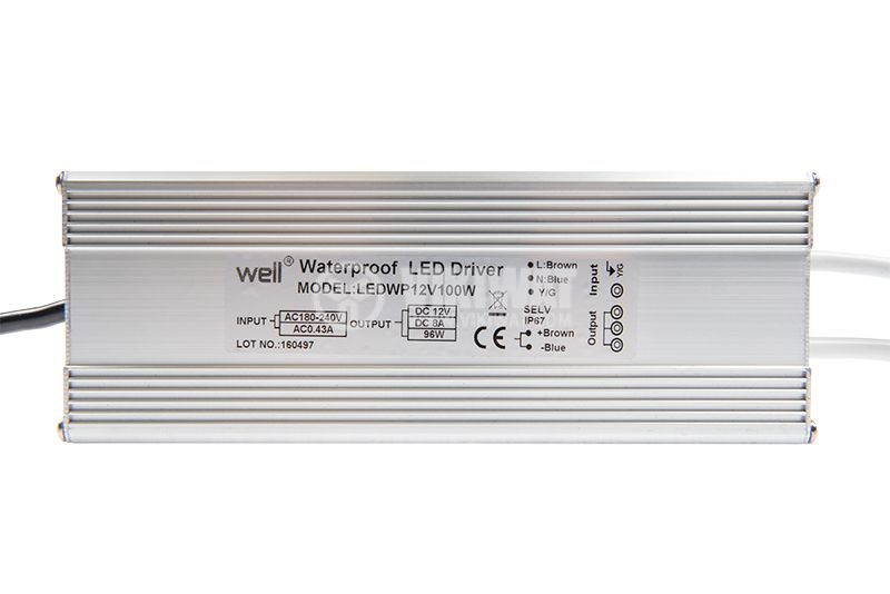 LED power supply LEDWP12V100W, 12VDC, 8.3A, 100W, IP67 - 3