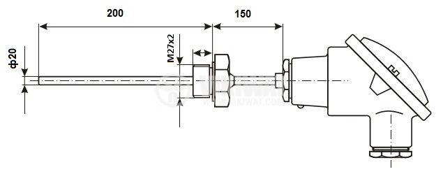 Термодвойка тип K, 0°C -1100°C, Ф20 mm, дължина 200 mm  - 6