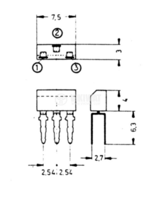 Транзистор BF195, NPN, 30 V, 0.3 A, 0.22 W, 200 MHz, TO92 - 2