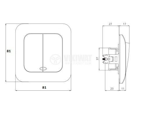 Електрически ключ, LEXA P-R2K1D, вграждане, сх.5 сериен, 16A, 250VAC, бял, светещ - 2