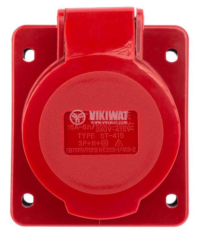 Industrial power socket, ST-415, 3P+N+E, 220-415VAC, 3x16A - 2