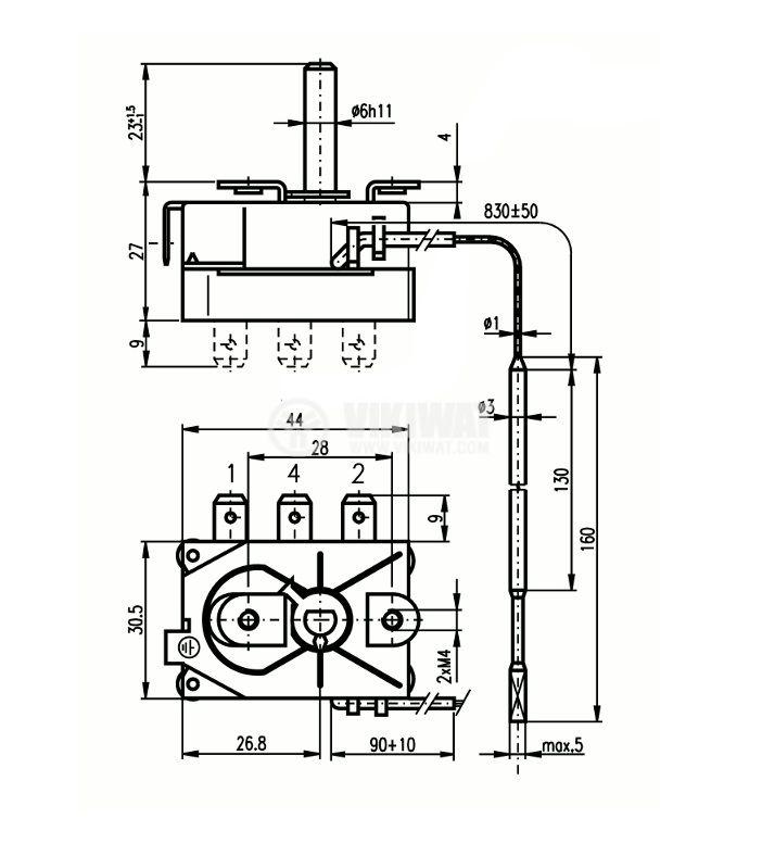Терморегулатор, капилярен, RT8804, +50 °C +170 °C, NC, 16 A / 250 VAC - 2