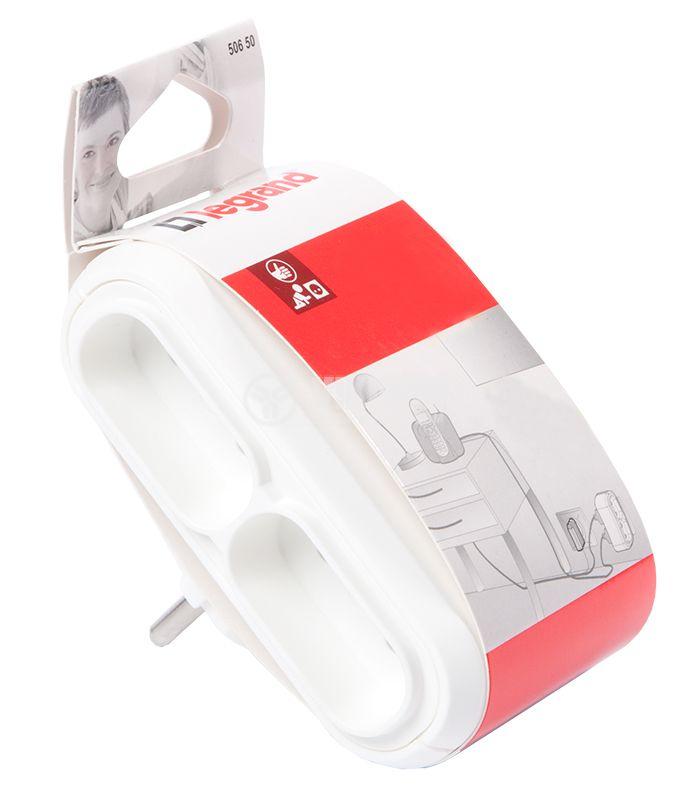 Разклонител за контакт, LEGRAND, 50650, 1 шуко към 4 двуполюсни, 6A, 230VAC, плосък, бял - 5