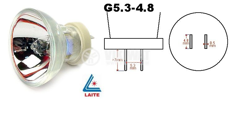 Халогенна лампа LT05027 12V, 75W, G5.3-4.8, с рефлектор
