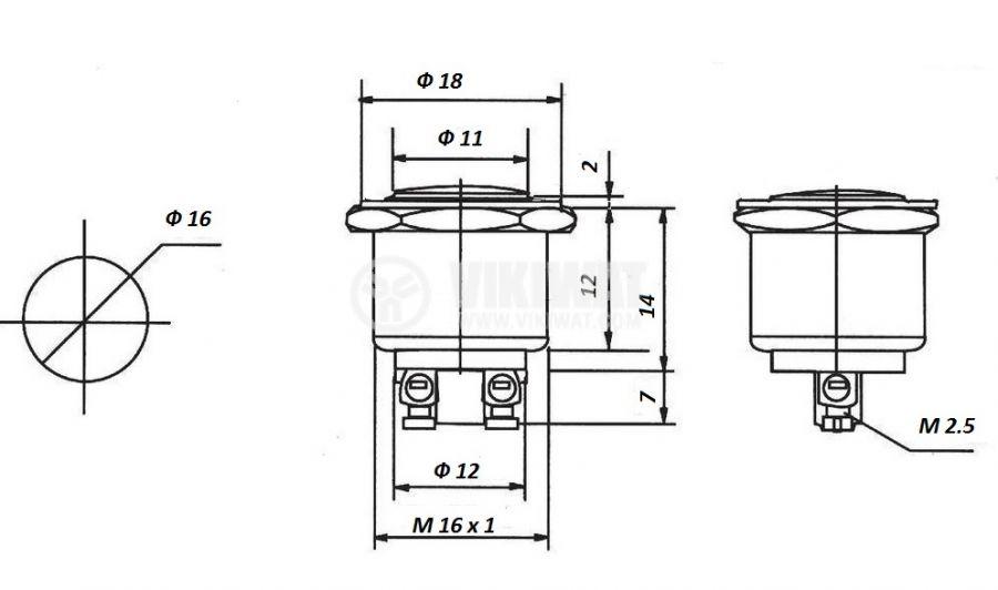 Button Switch, CK91B, NO, 250VAC/3A - 4