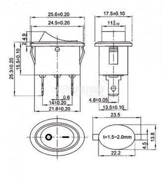 Клавишен превключвател rocker KCD-1 103-9, 6 A/250 VAC,ON-OFF-ON, SPDT ,черен - 4