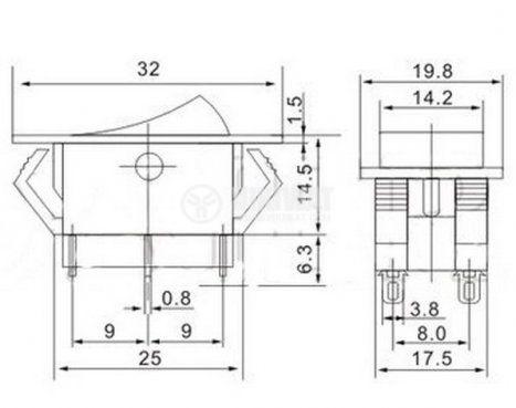 Клавишен превключвател rocker  KCD2-202-8, 10 A/250 VAC, ON-ON, DPDT, бял - 4
