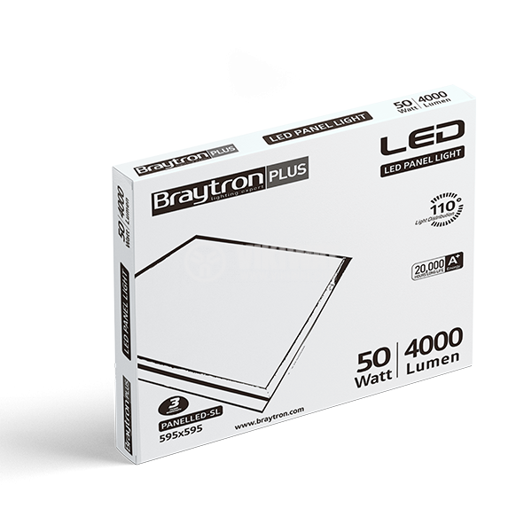 LED panel 50W, square, 220VAC, 4000lm, 4200K, neutral white, 600x600mm, surface mounting, BP21-06610 - 9