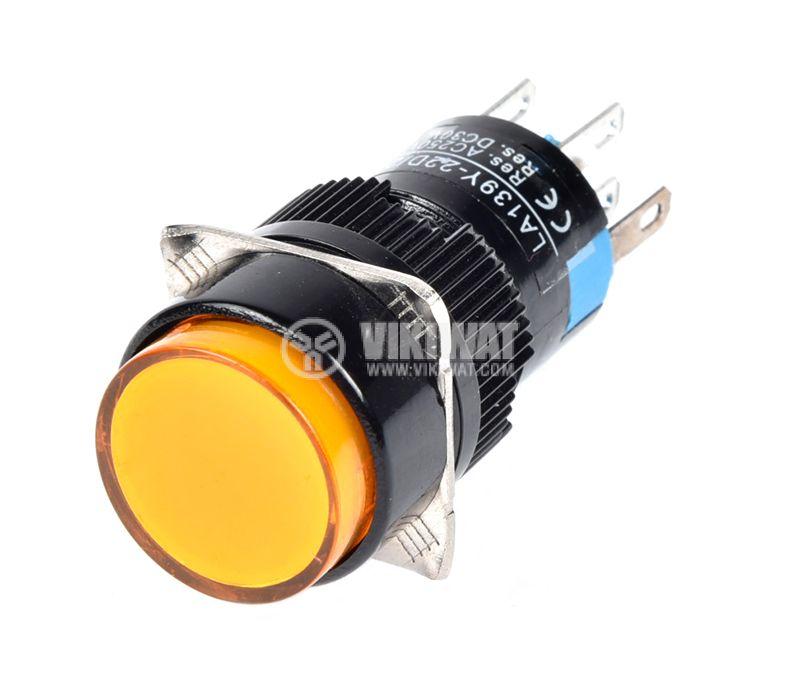 Бутонен превключвател, бутон, ON - (ON), отвор ф16, 3A/250VAC, DPDT - 3