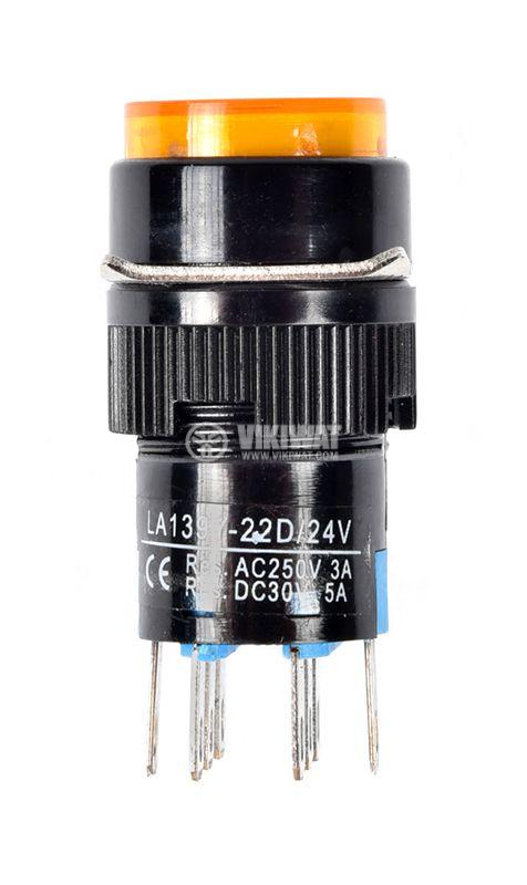 Бутонен превключвател, бутон, ON - (ON), отвор ф16, 3A/250VAC, DPDT - 2