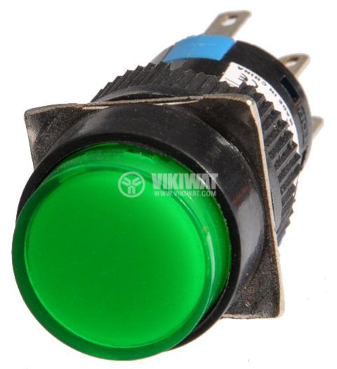 Бутон светещ тип RAFI LA139S 220VAC 2PDT - 2NO+2NC зелен - 2