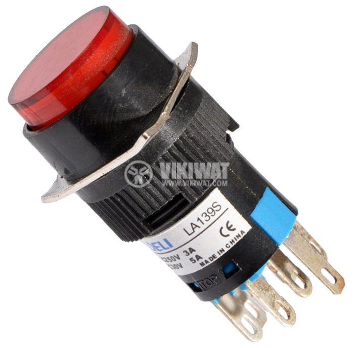 Бутон светещ тип RAFI LA139S 220VAC 2PDT - 2NO+2NC червен - 1