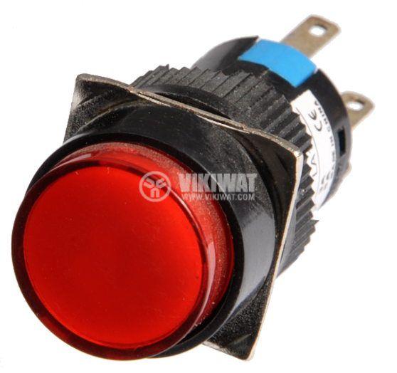 Бутон светещ тип RAFI LA139S 220VAC 2PDT - 2NO+2NC червен - 2
