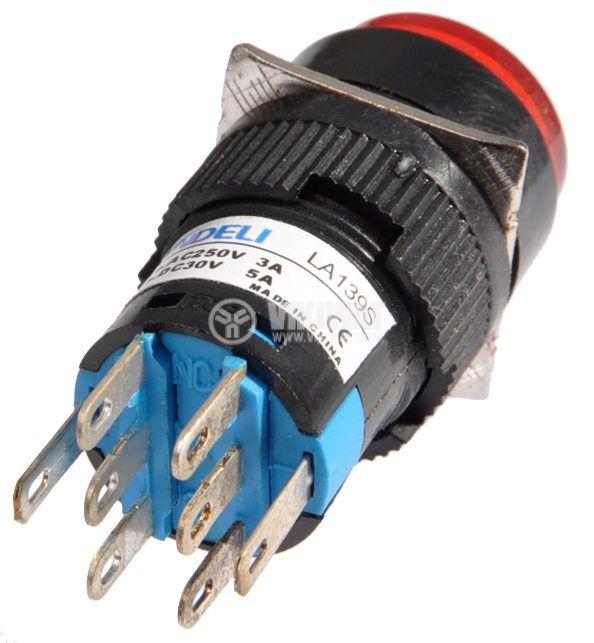 Бутон светещ тип RAFI LA139S 220VAC 2PDT - 2NO+2NC червен - 3