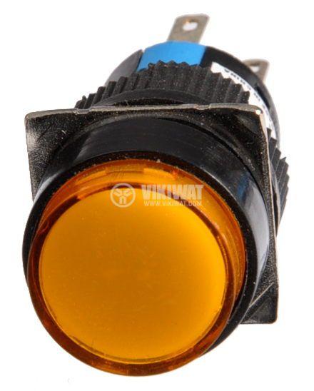 Бутон светещ тип RAFI LA139S 220VAC 2PDT - 2NO+2NC жълт - 2