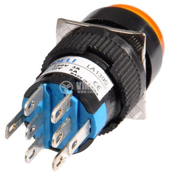 Бутон светещ тип RAFI LA139S 220VAC 2PDT - 2NO+2NC жълт - 3