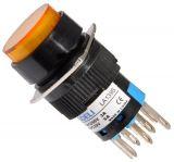Бутон светещ тип RAFI LA139S 220VAC 2PDT - 2NO+2NC жълт