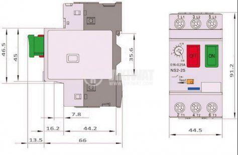 Моторна защита по ток, (АТ00) DZ518-08, трифазна, 2.5-4 A - 7