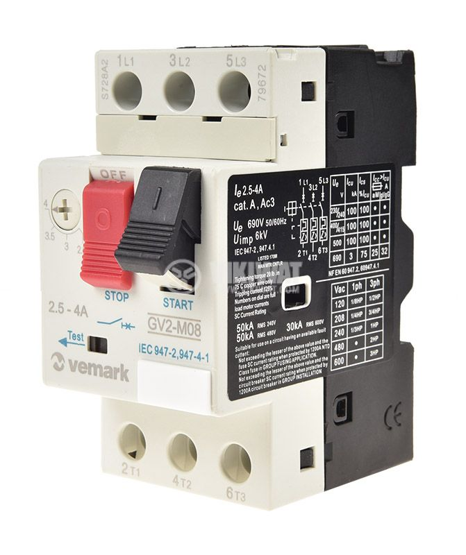 Motor protection circuit breaker GV2-M08, three-phase, 2.5-4 A - 1