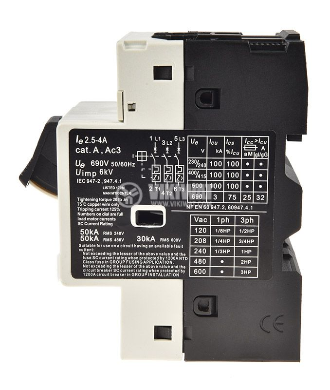 Motor protection circuit breaker GV2-M08, three-phase, 2.5-4 A - 2