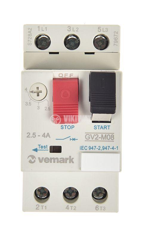 Моторна защита по ток, GV2-M08, трифазна, 2.5-4 A - 6