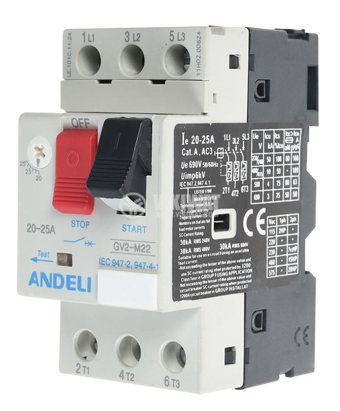 Motor protection circuit breaker (АТ00) DZ518-M22, three-phase, 20-25A - 1
