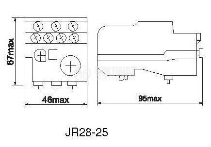 Thermal relay, JRS28-25, three-phase, 1-1.6 A, 2PST - NO+NC, 10 A, 380 VAC - 2