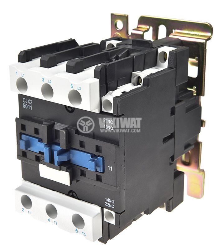 Contactor, three-phase, coil 220VAC, 3PST - 3NO, 50A, CJX2-D50, NO+NC - 2