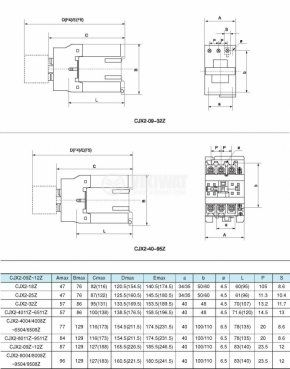Contactor, three-phase, coil 24VDC, 3PST - 3NO, 40A, CJX2-40Z, NO+NC - 2