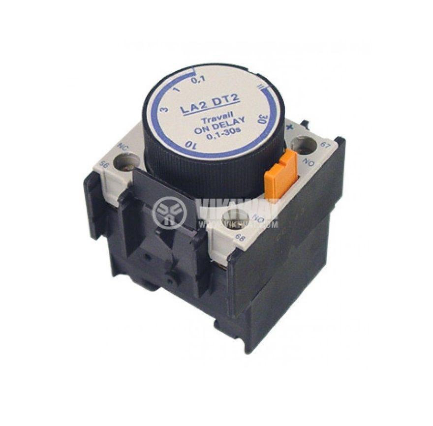 Времезакъснителен блок, LA2-DT2, DPST-NO+NC, 6A/500VAC, 0.1-30s - 1