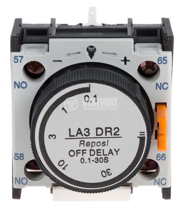 Времезакъснителен блок, LA3-DR2, DPST-NO+NC, 6A/500VAC, 0.1-30s - 1